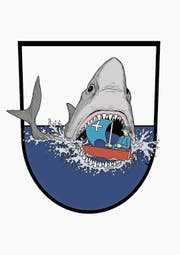 Die Neuinterpretation: Der Grafiker Angelo Gwerder hat das Unterägerer Wappen humorvoll uminterpretiert und schreibt dazu: «Die Umweltverschmutzung verseucht die Meere. Der Hai bekommt eine grosse Portion davon ab.» (Bild: PD)