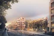 So soll es künftig in der Bernstrasse aussehen. Dank drei unterschiedlichen Bauvolumen, sollen verschiedene Aussenräume und Begegnungsorte entstehen. (Bild: PD)