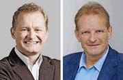 Ludwig Loretz (links) zieht seine Kandidatur für das Gemeindepräsidentenamt in Andermatt zurück. Jost Meyer (rechts) bleibt Kandidat. (Symbolbild Neue UZ)
