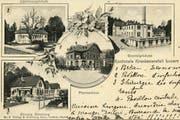 Das 1902 erbaute Kantonsspital im Gebiet St. Karli diente seinerzeit als Kartensujet. Das Spital bestand aus acht voneinander isolierten Pavillons. Seit 1982 steht dort das heutige markante Spital-Hochhaus.