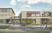 So soll dereinst der Erweiterungsbau der Schulanlage Riedmatt aussehen. (Bild: Visualisierung: PD)