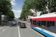 Separate Busspur: RBus auf der Pilatusstrasse. (Bild: Visualisierung Mathis Partner)