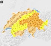 Stufe 3 von 5 in der Zentralschweiz bedeutet erhebliche Gefahr von Gewitter. (Bild: Grafik Meteoschweiz)