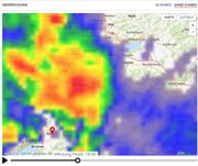 Die Gewitterzelle am Mittwoch um 18 Uhr über Einsiedeln. (Bild: search.ch)