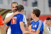 Für den FCL gab es zuletzt Grund zur Freude. Trainer Markus Babbel (links) freut sich am 29. August mit Sebastian Schachten und Clemens Fandrich über den Sieg in Lugano. (Bild Martin Meienberger)