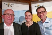 Präsident Felix Muheim (links) mit der abtretenden Geschäftsführerin Martina Stadler und mit dem neuen Geschäftsführer Michel Henry. (Bild: Christoph Näpflin (Seelisberg, 11. April 2017))