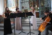 Das Belenus-Quartett beim Auftritt in der Ridlikapelle (von links): Seraina Pfenninger, Anne Battegay, Esther Fritzsche und Jonas Vischi.