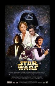 Die Hauptfiguren der ersten Trilogie, Teile 4 bis 6 (von links): der alte Obi Wan Kenobi, Luke Skywalker, Yoda, Darth Vader (hinten), Prinzessin Leia, Han Solo. (Bild: PD)