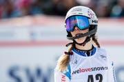 Aline Danioth of Switzerland reacts in the finish area during the second run of the women's Slalom race at the Alpine Skiing FIS Ski World Cup in Lenzerheide, Switzerland, Sunday, January 28, 2018. (KEYSTONE/Jean-Christophe Bott) (Bild: Jean-Christophe Bott / Keystone (Lenzerheide, 28. Januar 2018))