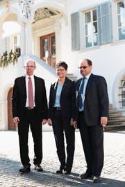 Sie sind schon gewählt (von links): Christoph Amstad (CVP), Maya Büchi (FDP) und Josef Hess (parteilos). (Bilder: Roger Zbinden (Sarnen, 4. März 2018))
