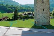 Auf der Visualisierung ist der geplante Wasserlauf zu sehen - und damit der Grundriss der alten Kirche. (Bild: Visualisierung Chris Aschwanden)