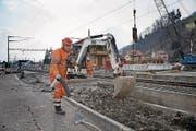 Die Bauarbeiten in Alpnachstad sind in vollem Gang. (Bild: Corinne Glanzmann (27. Februar 2018))
