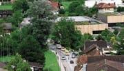 Die Unfallstelle bei der Verzweigung Rütistrasse/Spitalmattenweg. Im Hintergrund die Kantonsschule Obwalden. (Bild: PD (Sarnen, 24. Juli 2017))