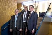 Das gestern nominierte Trio von links: Joe Christen, Alfred Bossard und Niklaus Reinhard. (Bild: Manuela Jans-Koch (Stans, 11. Januar 2018))