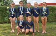 Die erfolgreichen K1-Turnerinnen; hinten von links: Valeria Gamma (Gold), Nora Albert, Stella De Vettor, Marija Dreivinga und Isabell Kempf (Bronze); vorne von links: Livia Arnold und Kyra Arnold. (Bild: Rita Zgraggen)