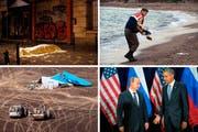 Sorgte u.a. international für Schlagzeilen: Anschläge von Paris, das Foto des dreijährigen Aylan, ein Nicht-Handschlag zwischen Vladimir Putin und Barack Obama (von oben links im Uhrzeigersinn) und der Flugzeugabsturz im Sinai. (Bilder Keystone)