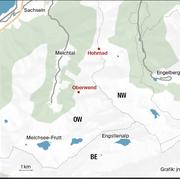 Zwischen Hohmad und der Alp Oberwend, wo er ein Schaf riss, tauchte der Wolf italienischer Herkunft seither mehrmals auf. (Bild: Grafik: jn)