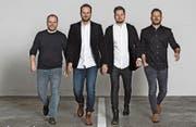 Die HI-Führungscrew von links: Beat Schuler (CFO), Yves Herger (Inhaber und Creative Director), Mathias Bamert (CEO) und Philipp Michel (Art Director, Leiter HI Luzern). (Bild: F. X. Brun (Altdorf, 21. Dezember 2016))