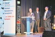 Die Regierungsratskandidaten der FDP Nidwalden am Wahlkampfauftakt: Joe Christen (v.l.), Niklaus Reinhard und Alfred Bossard. (Bild: Matthias Stadler (Stans, 27. Januar 2018))