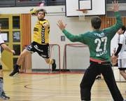 Zeigte zum Abschluss nochmals eine starke Leistung: der siebenfache Torschütze Nicolai Christensen. (Bild: Urs Hanhart (Altdorf, 26. April 2017))