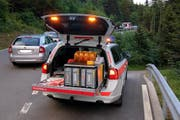 Velounfall Ibergeregg (Bild: Geri Holdener / Bote der Urschweiz)