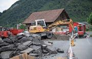 Baustelle bei der Abzweigung zur Spichermatt. (Bild: Corinne Glanzmann (Stans, 12. Juli 2017))