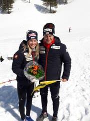 Medaillengewinnerin Stefanie Arnold und Roman Furger. (Bild: Bruno Arnold)