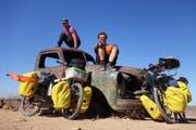 Ein Zwischenstopp in Namibia: Die Velos sind noch fahrtauglich. (Bild: PD)