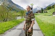 Othmar Blättler im Waffenlauf-Tenü. (Bild Corinne Glanzmann)