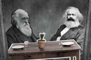 Obwohl beide jahrzehntelang in London lebten und sich Bücher schickten, trafen sie sich nie: Charles Darwin und Karl Marx. (Bild: Illustration: Patrick Federli und Sandra Näf)
