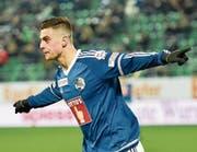 1:0-Torjubel in der 51. Minute: FCL-Stürmer Tomi Juric. (Bild: Martin Meienberger/Freshfocus (St. Gallen, 11. März 2017))