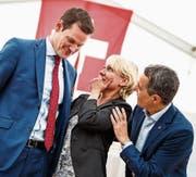 Die drei Bundesratskandidaten präsentierten sich gestern am Tag der FDP in Auvernier (Neuenburg). (Bild: Keystone/Valentin Flauraud)