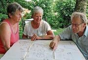 Barbara Heldstab (Mitte), Vreni und Ernst Steffen studieren den Originalplan des Kreativ-Spielplatzes. (Bild: Cornelia Bisch (Sins, 23. Juni 2017))