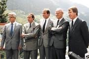 Von links Ambros Gisler, Karel van Miert, Adolf Ogi, Hans Zurfluh und Peter Mattli. (Bild: PD)