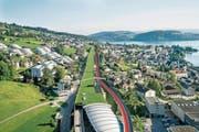 Die Einfahrt von der A8 bei Hergiswil wird länger und der Pannenstreifen bei viel Verkehr Richtung Luzern zur dritten Spur (rote Strecke). (Bild: Astra)