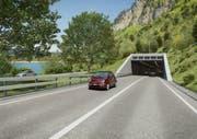 So stellen sich die Planer das Südportal des Tunnels Kaiserstuhl zwischen Lungern und Giswil vor. (Bild: Visualisierung PD)