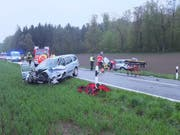 Die Unfallstelle in Meisterschwanden: Der Unfall forderte zwei Verletzte. (Bild Kantonspolizei Aargau)