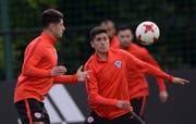 Chile's team attend a training session at the FC Strogino Stadium in Moscow, Russia, Saturday, June 24, 2017. Chile will play Australia in a Confederations Cup, Group B soccer match scheduled for Sunday, June 25, 2017. (AP Photo/Daria Isaeva) (Bild: DARIA ISAEVA/Keystone)