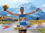 Mustafa Shaban (BUL) gewinnt den 23. Jungfrau Marathon am 12. September 2015 auf der Kleinen Scheidegg. (Bild: pd / swiss-image.ch / Photo Remy Steinegger)