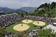 Beim ersten Bergkranzfest auf dem Stoos erwartet die Zuschauer ein spannendes Anschwingen ab 8.30 Uhr. (Bild: Rolf Eicher/schlussgang.ch)