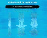 Der Tourplan von Ed Sheeran. (Bild: Screenshot edsheeran.com)