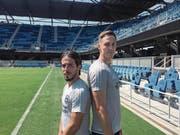 Wollen ihren Beitrag zum Erfolg des Klubs leisten: Jahmir Hyka (links) und François Affolter im Avaya Stadion der San José Earthquakes. (Bild: Marc Wälti (San José, 13. September 2017))