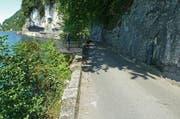 Die Kehrsitenstrasse soll umfassend saniert werden. Im Bild ein Abschnitt der Strasse in Stansstadt mit der neuen geplanten Bucht für Fussgänger. (Bild: PD)