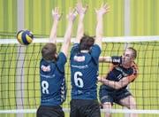 Punktet gegen Münchenbuchsee mit einem wuchtigen Smash: der Malterser André Kretschmar. Bild: Pius Amrein (Malters, 11. Februar 2017)