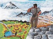 Hans Müllers Bilder erzählen vom Bauernleben, von der Arbeit auf der Alp, von der Liebe und von der Familie. (Bild: Christof Hirtler (Unterschächen, Februar 2018))