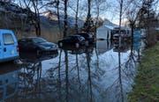 Hochwasser an den üblichen Stellen: Der Lauerzersee in Seewen am Freitagmorgen. (Bild: Geri Holdener, Bote der Urschweiz)