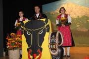 Robi Indergand bei seiner Festansprache als Präsident der Jubiläumskommission anlässlich der Feierlichkeiten «100 Jahre Urner Kantonaler Schwingerverband». (Bild Paul Gwerder (Schattdorf, 21. Oktpober 2017))