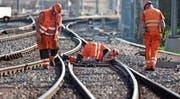 Angestellte der SBB kontrollieren die Gleise bei Härkingen. (Bild: Martin Rütschi/Keystone (28. April 2010))