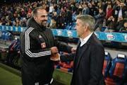 Markus Babbel (links) fordert mehr Respekt gegenüber Basel-Trainer Urs Fischer (rechts). (Bild: Daniela Frutiger/Freshfocus (Basel, 15. Oktober 2017))