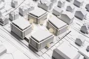 Modell der geplanten Überbauung Wylpark in Hergiswil. (Bild: PD)
